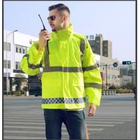 Buy cheap Hi vis reflective raincoat 300D oxford with PU / PVC coated heat transfer reflective tape product