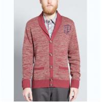 Buy cheap Warm Mens Full Zip Cardigan Sweater , Red Cardigan Sweater With Embroidery from wholesalers