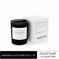 Buy cheap Light black jar scented soy wax candle with white folding box from wholesalers