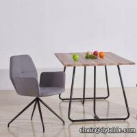 Buy cheap dining table mdf cover with oak PU PAPER; metal legs stainless steel from wholesalers