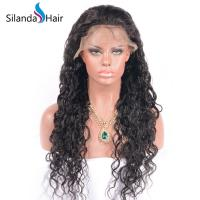 Buy cheap #1B Natural Color Water Wave 150% Density Remy Human Hair Lace Frontal Wigs from wholesalers