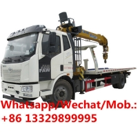 Buy cheap customized FAW brand new wrecker towing truck with crane boom for sale, HOT SALE! best price flatbed towing truck from wholesalers