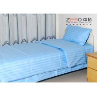Buy cheap 100% Cotton Plain Stripe Hospital Bed Sheet White / Blue / Pink Color from wholesalers