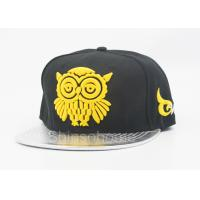 Buy cheap Fashion Acrylic And Leather Flat Bill Hats With Yellow Logo , Summer Baseball Cap from wholesalers