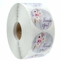 Buy cheap Bohemian Floral Thank You Stickers , 1.5 Rustic Chic Circle Permanent Labels from wholesalers