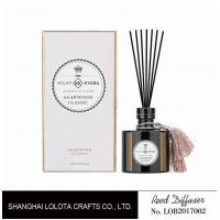 Buy cheap Black round bottle glass reed diffuser with tassel and white rigid gift box product