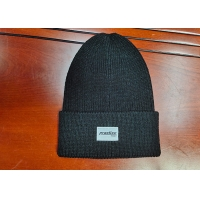 Buy cheap warm black wool or cotton customize woven label inner tape printing knitted boonies hats for winter from wholesalers