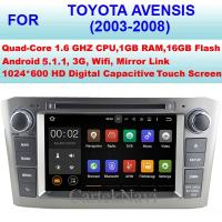 Buy cheap USB High Pixel Android 5.1.1 Toyota Radio GPS , Toyota Avensis Car DVD Player 2003 - 2008 from wholesalers