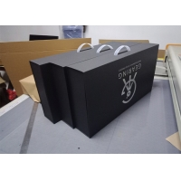 Buy cheap Foil Stamped CMYK PMS Gift Packaging Box With Plastic Handle from wholesalers