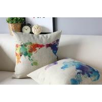 Buy cheap World map cushion,custom print cotton linen cushion,painting drawing cushion from wholesalers