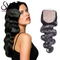 Buy cheap 4x4 Silk Base Lace Closure With A Natural Part / Full Hair Weave Body Wave from wholesalers