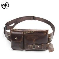 Buy cheap Wholesale price outdoor waist bag man's leather fanny pack handmade luxury waist bag from wholesalers