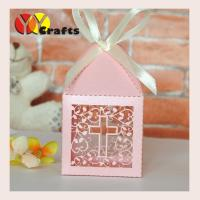 Buy cheap Pink Cross Favor Boxes  Wedding Candy Gift Boxes With Ivory Or White Free Ribbon from wholesalers