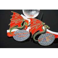 Buy cheap Soft Enamel Glitter Colors Custom Award Dragon Meadls Design Red / White Tripe Ribbon from wholesalers