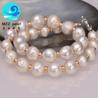 Buy cheap high luster white large pearl necklace 13-15mm freshwater cultured pearl choker from wholesalers