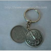 Buy cheap Retro antique pewter religious theme coin holder keyrings, antique pewter coin keychains, from wholesalers