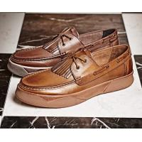 Buy cheap Pig Skin Lining Material Mens Leather Loafers With Tassels , Flat Shoes For Men product