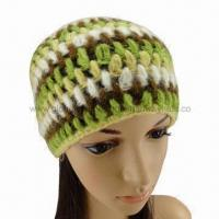 Buy cheap Fashionable Winter Acrylic Hand Knitted Woolen Cap, Contrast Color Pattern from wholesalers