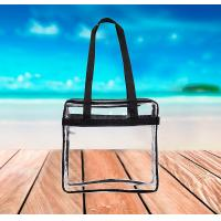 Buy cheap Clear Security Zippered Shoulder Bag Travel Gym Tote By Bags with Color Fabric Trim and Long Handles from wholesalers