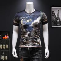 Buy cheap 2019 Men's New Latest Fashion Design Printed Slim Fit Short Sleeve T Shirt from wholesalers