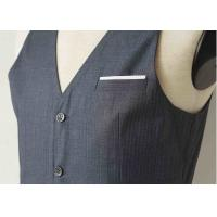 Big Stripe Mens Three Piece Suit , Grey Wool Three Piece Suit Anti - Wrinkle