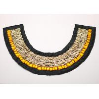 Buy cheap NL-1290 35x18cm Multi Style Black Fur Handmade Rhinestone Beaded Collar With Golden Sequin from wholesalers