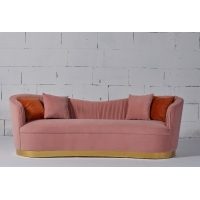 Buy cheap Pink Velvet Fabric Living Room Sofa With Gold Stainless Steel Base from wholesalers