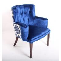 Buy cheap Blue Velvet Tufted Chair Home Furniture , Wooden Arm Chairs Living Room dining chair from wholesalers