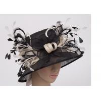 Buy cheap 8cm Brim Ladies Sinamay Hats With Black White Feather , Ladies Church Hats from wholesalers
