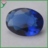 Buy cheap China manufacturer 6*8MM oval shape dark blue sapphire jewelry making glass stone from wholesalers