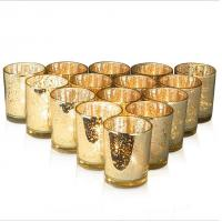 Buy cheap Mercury Glass Votive Candle Holder Speckled Gold Candle Holders for Weddings and Home Decor from wholesalers