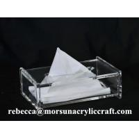 Buy cheap Desk Top Organic Glass Napkin Box, Acrylic Tissue Holder For Hotel Supplies from wholesalers