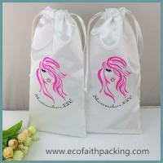 Buy cheap soft white satin drawstring gift bag with silk screen logo printing satin hair bag from wholesalers