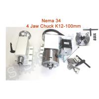 Quality Nema 34 ( 4:1 )  4 jaw Chuck K12-100mm CNC 4th Axis Kit CNC Dividing Head for sale