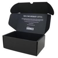 China Postal Mailer Subscription Printed Shipping Boxes Custom Black Kraft Packaging on sale