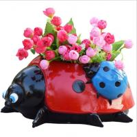 Buy cheap polyresin Ladybug statue animal planter for garden decoration flower pot from wholesalers