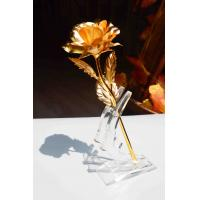 Buy cheap Romance Birthday blessings Wedding 24K gold foil Rose with plastic stand from wholesalers