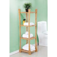 Buy cheap wooden bamboo floor shelf for bathroom from wholesalers