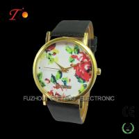 Buy cheap Vogue leather band women flower rose gold geneva watch 2014 from wholesalers