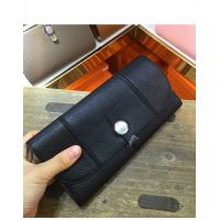 Buy cheap high end quality black women wallet designer wallet goatskin wallet fashion wallet brand flat wallet with round button from wholesalers