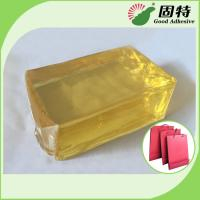 Buy cheap Yellow and semi-transparent PackagingBlock Synthetic polymer resin Hot Melt Glue For handbag making in bottom (backing). from wholesalers