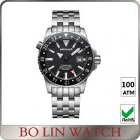 Buy cheap Charming Black Dial Men'S Watch , 316L Stainless Steel Male Watches With Solid Germanium from wholesalers