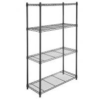 Buy cheap 4 Tier Carbon Steel Adjustable Mobile Metal Display Racks , Black Powder Coating Easy Assembly  Metal Shelf with Casters product