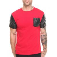 Buy cheap Red shirt with black leather sleeve shirt and pocket men factory product from wholesalers