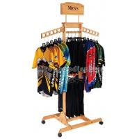 Buy cheap T Shirt Wood Clothing Store Fixtures Retail Display Shelves With Casters from wholesalers