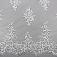 Buy cheap Floral Embroidery Eyelash Corded Lace Fabric For Bridal Wedding Dresses from wholesalers