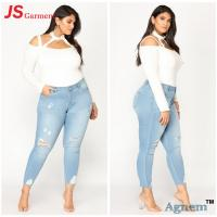 Buy cheap Fashion Elastic Ladies Jeans Pant Slim Fit High Waisted Ripped Jeans from wholesalers
