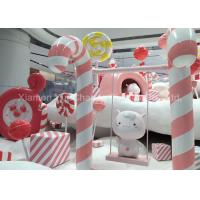 Buy cheap Oversize Shop Display Christmas Decorations Pink And White Fiberglass Candy from wholesalers