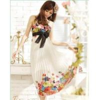 Buy cheap Maxi Floral Pleated Empire Waist Dress White from wholesalers