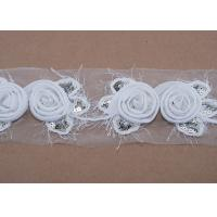 Buy cheap White Decorative 7cm Flower Embroidery Tape Clothing Trimmings, Clothing Accessories from wholesalers